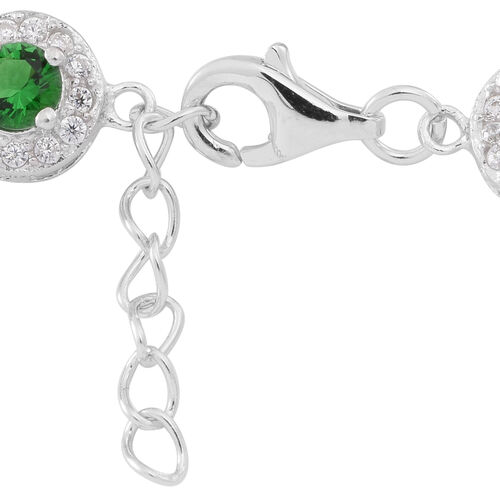 Designer Inspried -Limited Edition - ELANZA AAA Simulated Russian Diopside (Rnd), Simulated White Diamond Bracelet (Size 7.5 with Extender) in Rhodium Plated Sterling Silver Total Number of Stone 280