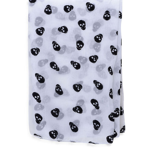 Black Colour Skull Printed White Colour Scarf (Size 95x95 Cm)