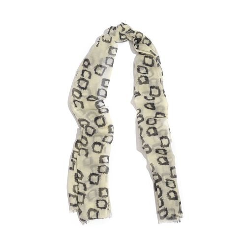100% Merino Wool Woven Black Box Pattern Cream Colour Scarf (Size 175x70 Cm)