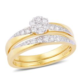 ILIANA 18K Yellow Gold 0.50 Carat Diamond Bridal Rings Set IGI Certified SI G-H.