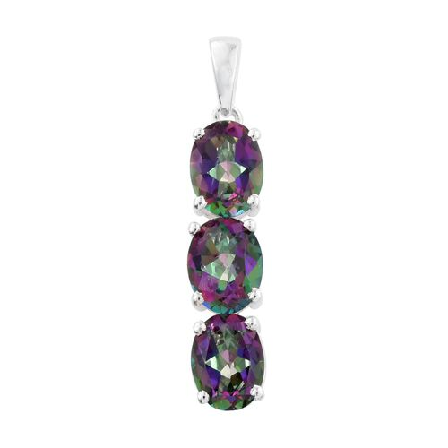 Super Auction - Northern Lights Mystic Topaz (Ovl) Trilogy Pendant in Sterling Silver 4.500 Ct.
