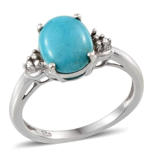 Arizona Sleeping Beauty Turquoise (Ovl) Solitaire Ring in Platinum Overlay Sterling Silver 2.000 Ct.