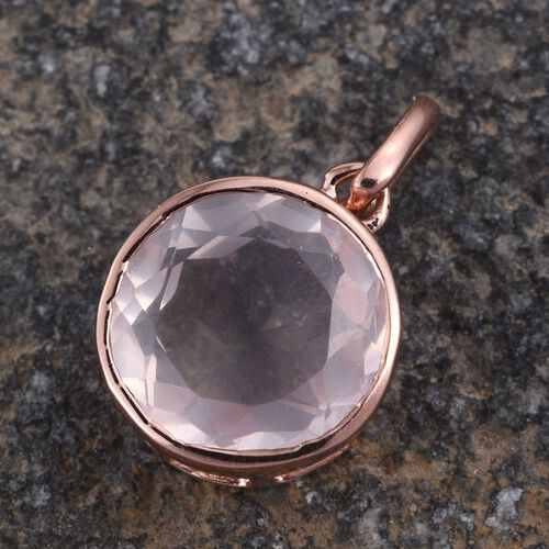 Rose Quartz (Rnd) Solitaire Pendant in Rose Gold Overlay Sterling Silver 3.250 Ct.