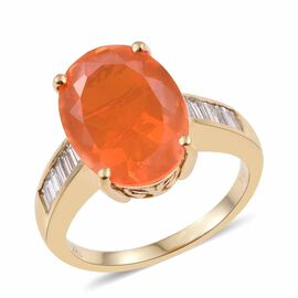 ILIANA 18K Y Gold AAA Mexican Fire Opal (Ovl 4.40 Ct), Diamond Ring 4.900 Ct.