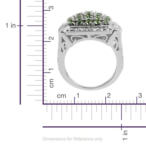 Crystal from Swarovski - Peridot Colour Crystal (Rnd) Cluster Ring in ION Plated Platinum Bond
