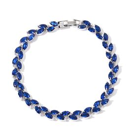 AAA Simulated Blue Sapphire Leaves Bracelet (Size 7.5) in Silver Tone