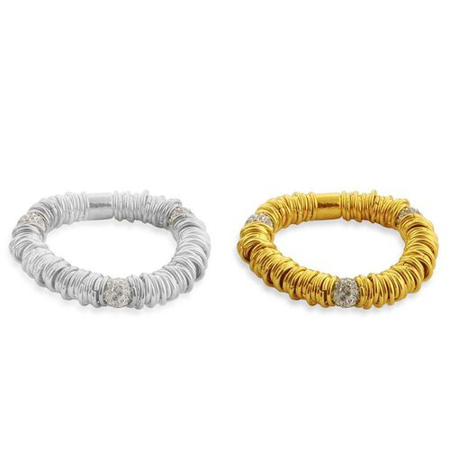 Set of 2 - White Austrian Crystal Bracelet (Size 7.5) in Silver and Gold Tone