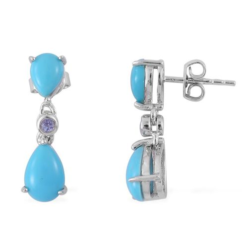 Arizona Sleeping Beauty Turquoise (Pear), Tanzanite Earrings (with Push Back) in Platinum Overlay Sterling Silver 2.830 Ct.