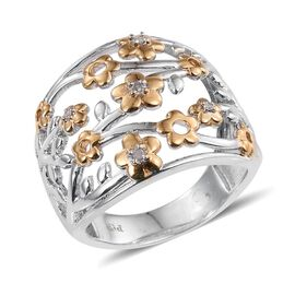 Diamond (Rnd) Floral Ring in Platinum and Yellow Gold Bond 0.050 Ct.