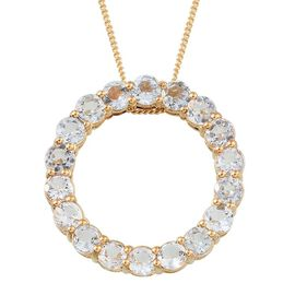 Espirito Santo Aquamarine (Rnd) Circle Pendant With Chain in 14K Gold Overlay Sterling Silver 2.750 Ct.
