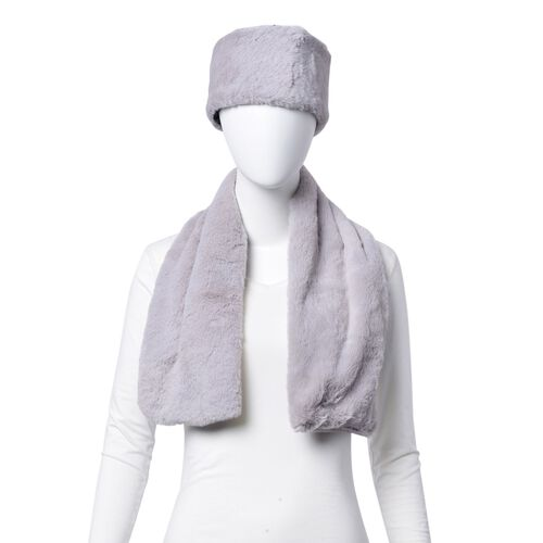 Set of 2 - Grey Colour Headband (Size 45x10 Cm) and Scarf (Size 90x15 Cm)