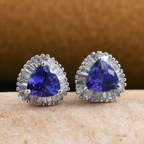 ILIANA 18K W Gold AAA Tanzanite (Trl), Diamond Earrings (with Screw Back) 1.500 Ct.
