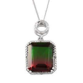 Tourmaline Colour Quartz (Oct 9.25 Ct), Diamond Pendant With Chain in Platinum Overlay Sterling Silver 9.280 Ct.