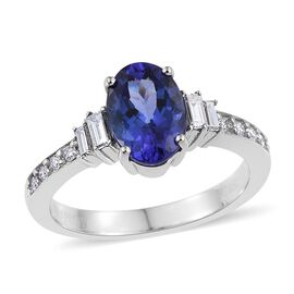 RHAPSODY 950 Platinum 2.10 Carat AAAA Tanzanite Oval Ring, Diamond VS E-F.