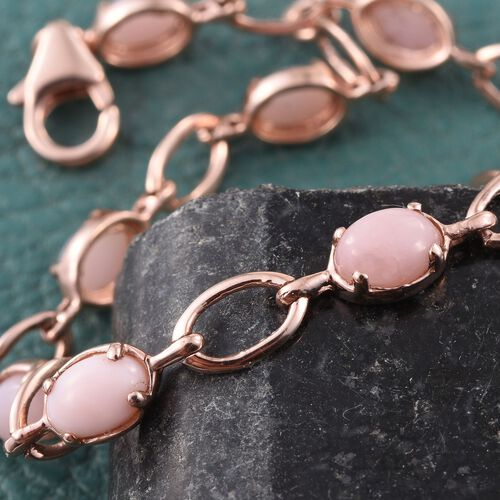 Natural Peruvian Pink Opal (Ovl) Bracelet (Size 7.5) in Rose Gold Overlay Sterling Silver 4.250 Ct.