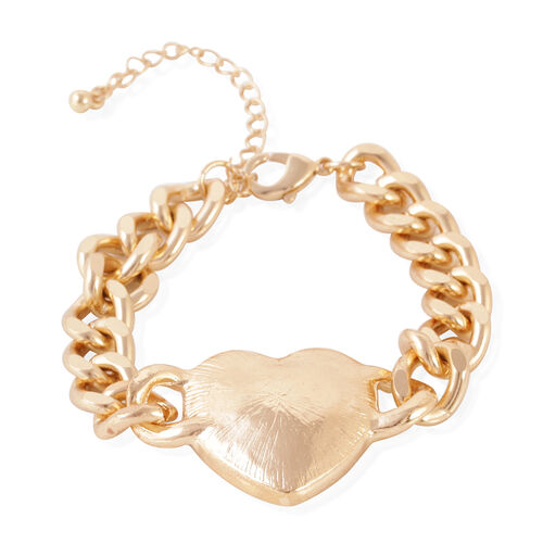 JCK Vegas Collection Crystal  (Hrt) Bracelet (Size 7.5 with 3.5 inch Extender) in Yellow Gold Bond
