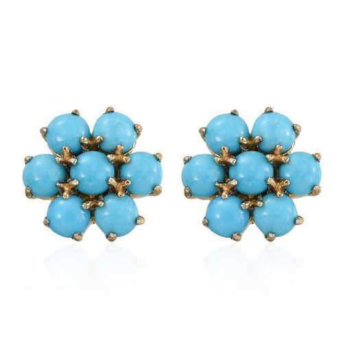 Arizona Sleeping Beauty Turquoise (Rnd) Floral Stud Earrings (with Push Back) in 14K Gold Overlay Sterling Silver 3.500 Ct.