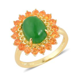 Chinese Green Jade (Ovl 4.25 Ct), Jalisco Fire Opal Ring in Yellow Gold Overlay Sterling Silver 5.150 Ct.