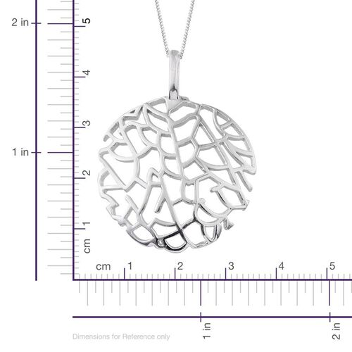 Platinum Overlay Sterling Silver Sea Fan Coral Pendant With Chain, Silver wt 4.98 Gms.