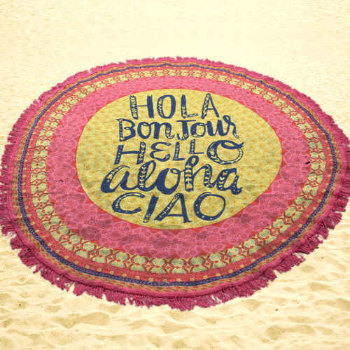 100% Cotton Pink and Yellow Colour Ciao Printed Round Beach Rug with Fringes (Size 140 Cm Diameter)