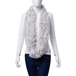 Faux Fur Chocolate and White Colour Scarf (Size 58x15 Cm)