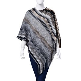 Designer Inspired Black, White, Grey and Multi Colour Zig Zag Pattern Poncho with Tassels (Free Size)