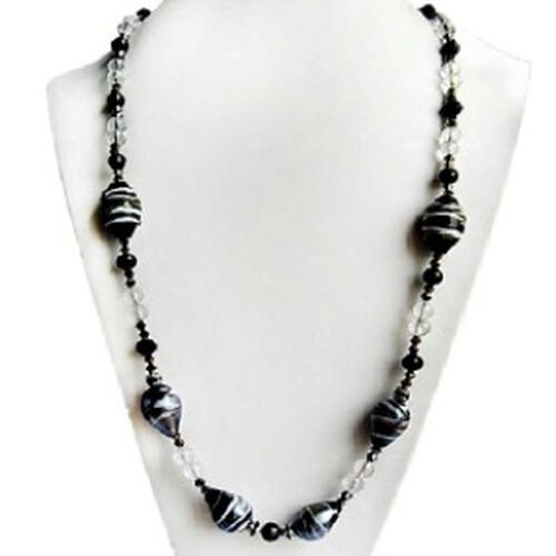 Silver Tone Artistic Murano Glass, Black Glass Necklace (Size 24)