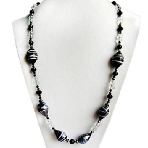 Silver Tone Artistic Murano Glass, Black Glass Necklace (Size 24)