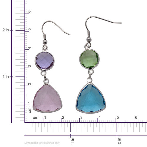 Set of 2 - Blue, Green, Pink and Purple Glass Hook Earrings in Silver Tone