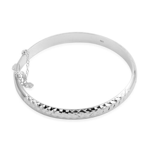 (Option 2) JCK Vegas Collection Sterling Silver Mosaic Bangle (Size 7.5), Silver wt 7.00 Gms.