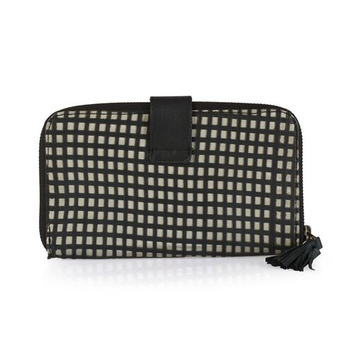 Genuine Leather Black and White Colour Square Laser Cut Pattern Wallet (Size 20x12 Cm)