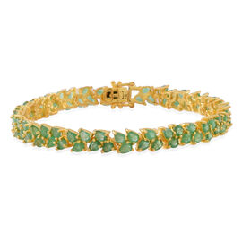AA Kagem Zambian Emerald (Pear) Bracelet (Size 7.5) in 14K Gold Overlay Sterling Silver 12.000 Ct.