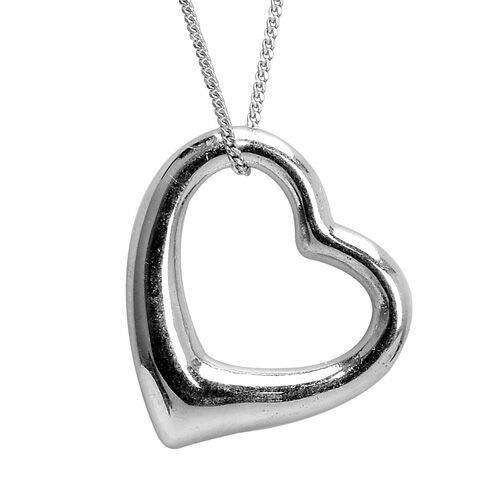 Platinum Overlay Sterling Silver Heart Pendant With Chain, Silver wt 8.46 Gms.
