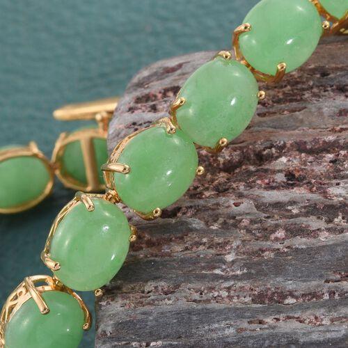 Green Jade (Ovl) Bracelet (Size 7.75) in 14K Gold Overlay Sterling Silver 67.250 Ct.