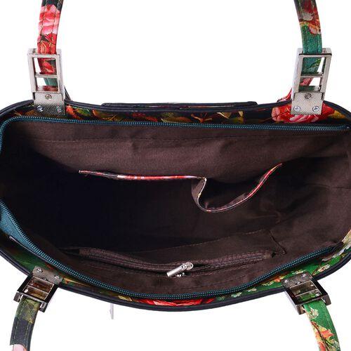 Chelsea Multi Colour Floral Pattern Tote Bag With Adjustable Shoulder Strap (Size 39x29x32x15 Cm)