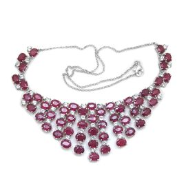 African Ruby (Ovl), White Topaz Necklace (Size 20) in Rhodium Plated Sterling Silver 70.000 Ct.