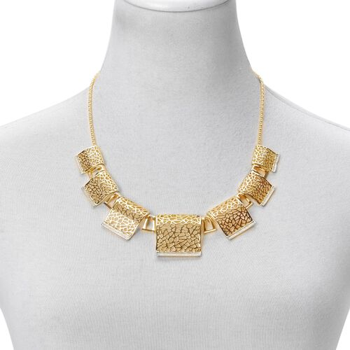 Egyptian BIB Necklace (Size 20 with 2 inch Extender) and Stud Earrings (with Push Back) in Yellow Gold Tone
