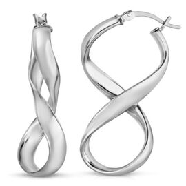 JCK Vegas Collection Sterling Silver Infinity Hoop Earrings (with Clasp), Silver wt 4.20 Gms.