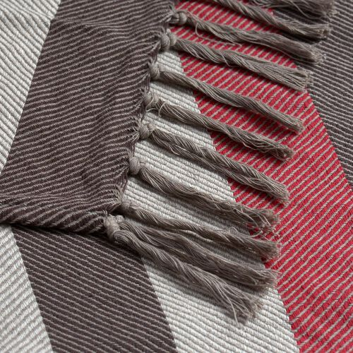 100% Cotton Brown, Beige and Multi Colour Stripe Pattern Throw with Fringes at the Bottom (Size 160x120 Cm)