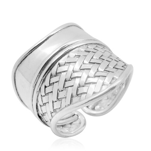 Royal Bali Bamboo Weave Collection Sterling Silver Ring, Silver wt 7.20 Gms.