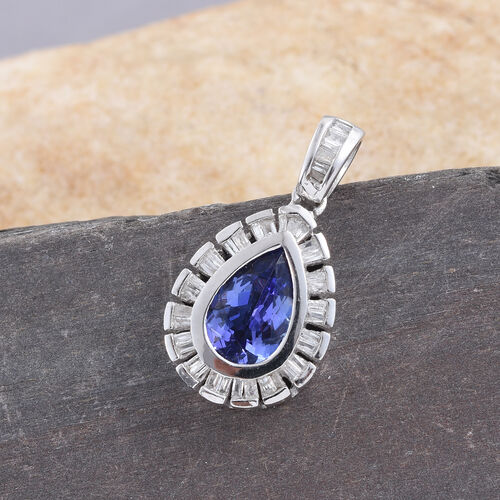 Tanzanite (Pear 1.30 Ct), Diamond Pendant in Platinum Overlay Sterling Silver 1.500 Ct.