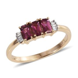 ILIANA 18K Y Gold Rare Pink Tourmaline (Oct), Diamond Ring 1.100 Ct.