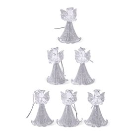 (Option 2) Set Of 6 Home Decor - Silver Colour Glittering Six Glass Angels in a Box (Size 17x16x4 Cm)