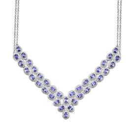 AA Tanzanite (Ovl) Necklace (Size 18) in Platinum Overlay Sterling Silver 14.500 Ct.