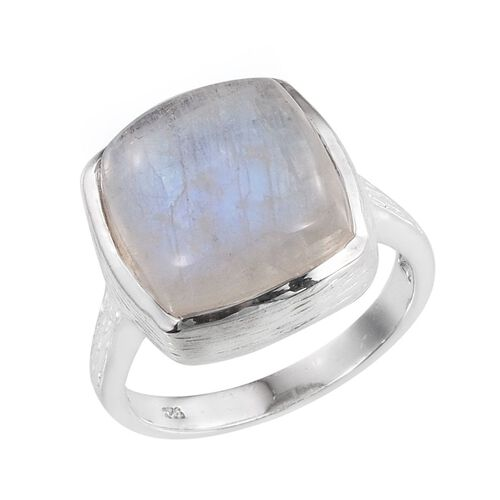 Natural Rainbow Moonstone (Cush) Ring in Platinum Overlay Sterling Silver 12.000 Ct.