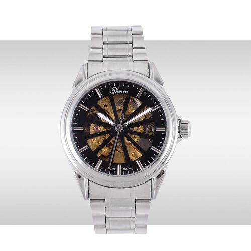 GENOA Automatic Skeleton Black and Golden Dial Water Resistant Watch in Stainless Steel and Chain Strap