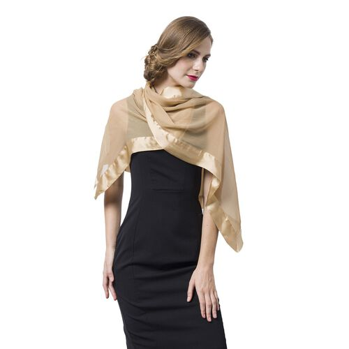100% Mulberry Silk Beige Colour Scarf with Satin Border (Size 160X60 Cm)