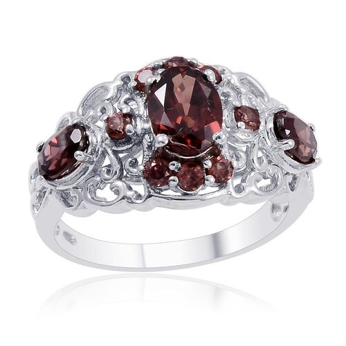 Designer Collection Umba River Zircon (Ovl 1.90 Ct) Ring in Platinum Overlay Sterling Silver 4.235 Ct.