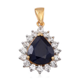 Blue Sapphire (Pear 4.80 Ct), Natural Cambodian White Zircon Pendant in 14K Gold Overlay Sterling Silver 6.250 Ct.