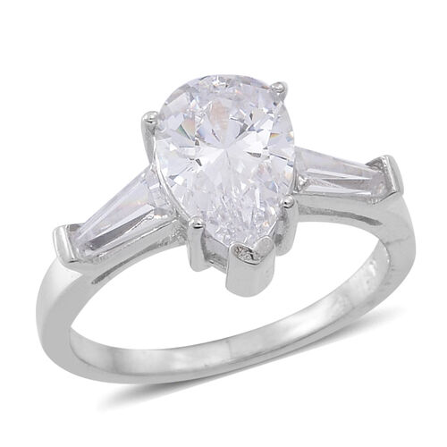 ELANZA AAA Simulated Diamond (Pear) Ring in Rhodium Plated Sterling Silver